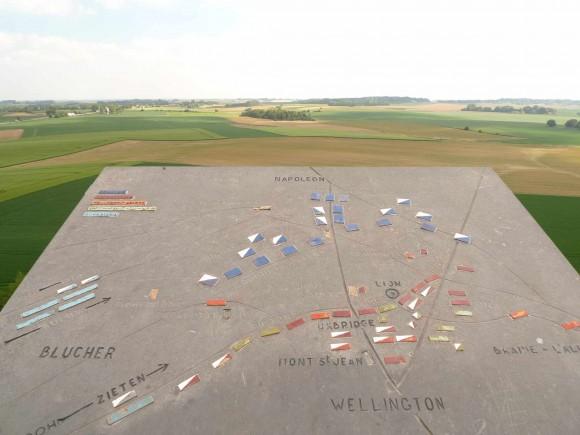 Peta pertempuran dari atas Butte du Lion, Waterloo. sumber: pribadi