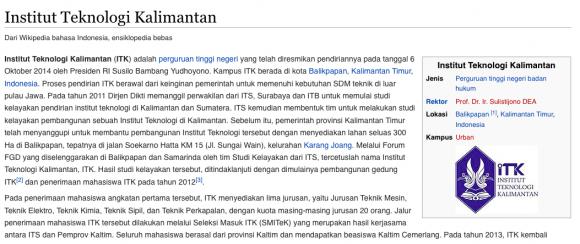 Artikel Wikipedia untuk Institut Teknologi Kalimantan
